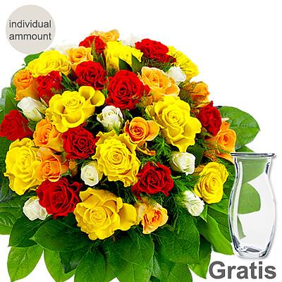 Individual mixed coloured roses