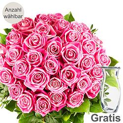 Rosa Rosenstrauß mit Vase