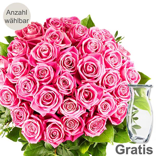 rosa rosen als strau mit vase rosen rosenstr u e. Black Bedroom Furniture Sets. Home Design Ideas