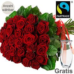 Rote FAIRTRADE Rosen im Bund
