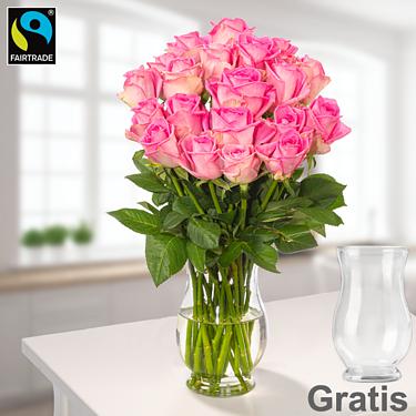 20 pinke Fairtrade Rosen im Bund mit Vase