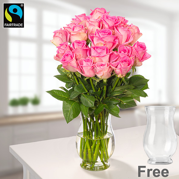 Bunch of 20 pink Fairtrade roses with vase