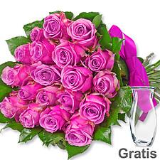 20 pinke Rosen im Bund