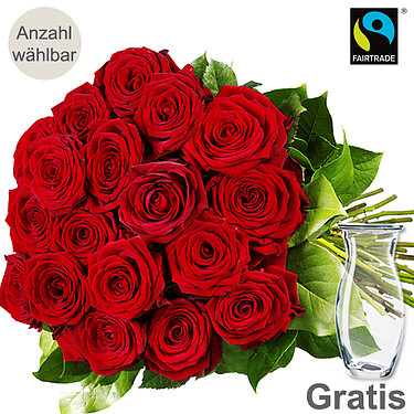 Rote langstielige FAIRTRADE Rosen