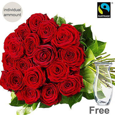 Red long-stemmed FAIRTRADE roses