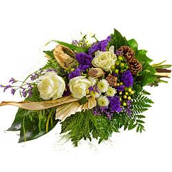 Trauerstrauß in creme-violett