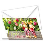 """Motivkarte Tulpenbeet """"Frohe Ostern"""""""