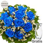 Individual blue roses