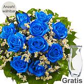 Blaue Rosen als Strauß