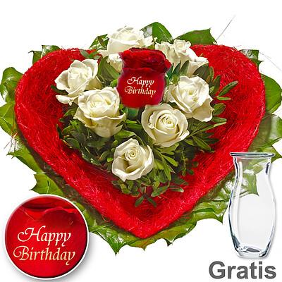 Rose Bouquet Happy Birthday With Vase