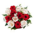 Weiß-roter Rosenstrauß