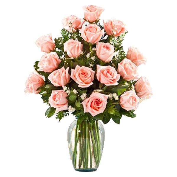 18 rosa Rosen im Strauß