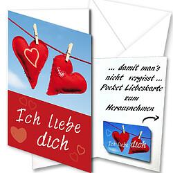 """Grußkarte """"Ich liebe Dich"""" mit Pocket-Liebeskarte"""