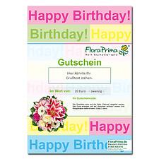"""Digitaler Blumengutschein """"Happy Birthday"""""""