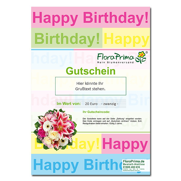 "Digitaler Blumengutschein ""Happy Birthday"""