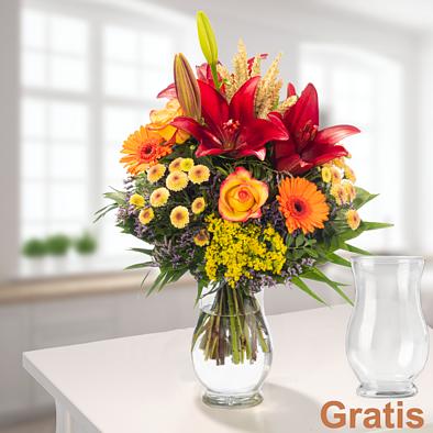 Blumenstrauß Herbstsonne mit Vase