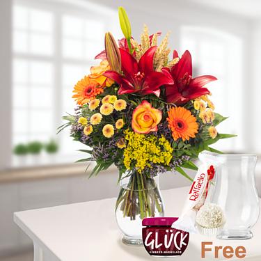 Flower Bouquet Herbstsonne with vase & Ferrero Raffaello & GLÜCK Jam Raspberry