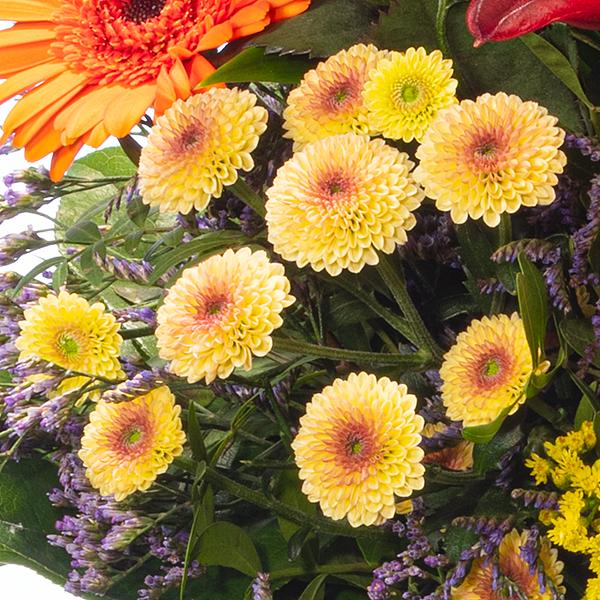 Blumenstrauß Herbstsonne mit Vase & Ferrero Raffaello