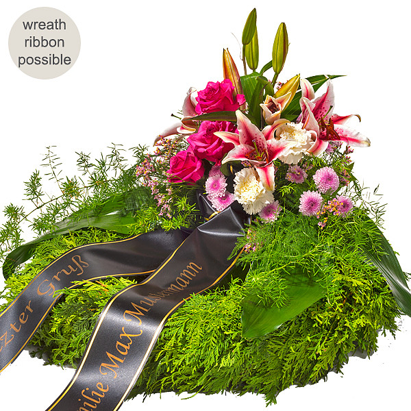 Sympathy Wreath with pink lilies