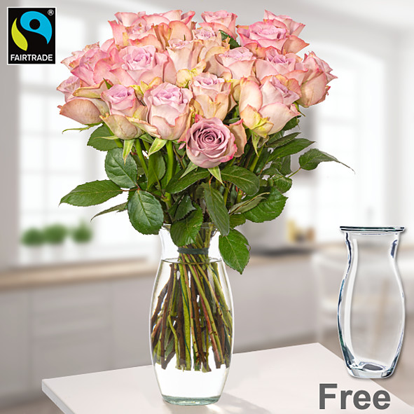 20 light pink FAIRTRADE roses in a bunch with vase