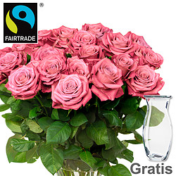 20 pink FAIRTRADE roses in a bunch