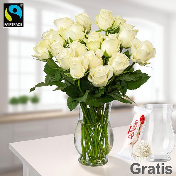 20 weiße Fairtrade Rosen im Bund mit Vase & Ferrero Raffaello & GLÜCK-Marmelade