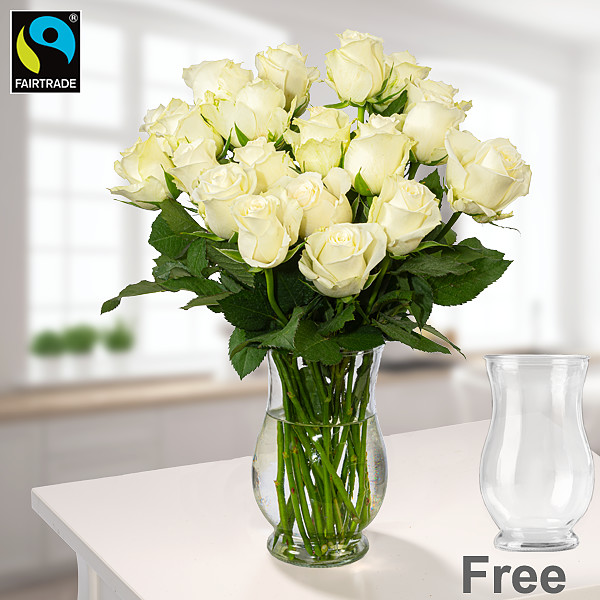 Bunch of  20 white Fairtrade roses with vase