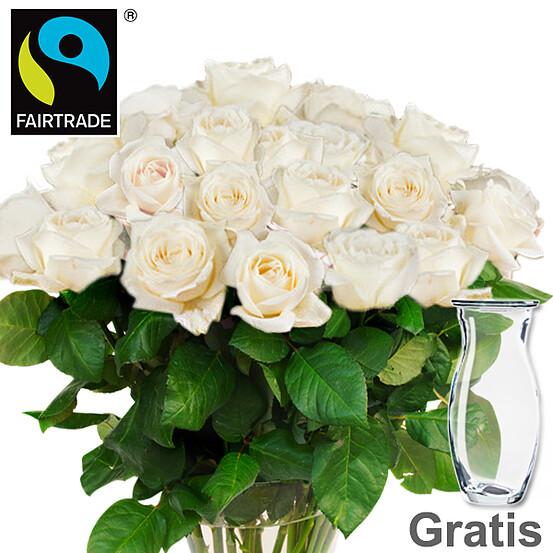 20 weiße FAIRTRADE Rosen im Bund