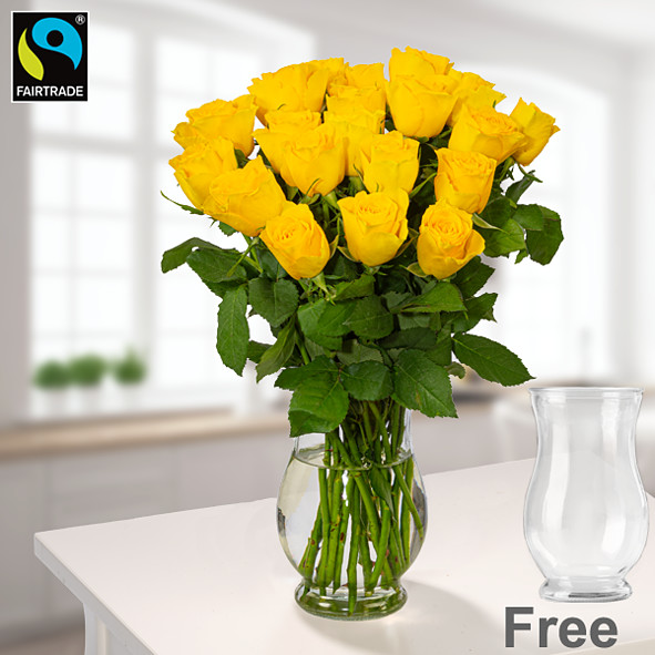 20 yellow Fairtrade roses in a bunch with vase