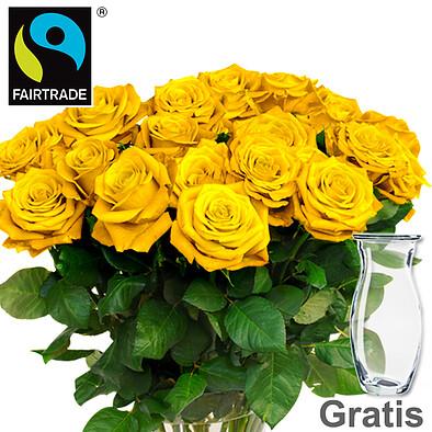 20 gelbe FAIRTRADE Rosen im Bund mit Vase