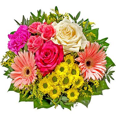 Ihr Blumengruß besteht aus Rosen, Nelken, Gerberas und Schnittgrün.  Hinweis: Bitte beachten Sie, dass der gelieferte Artikel von dieser Abbildung abweichen kann.