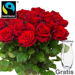 Red FAIRTRADE roses in a bunch
