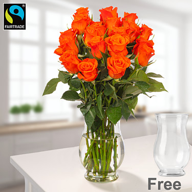 Orange Fairtrade roses in a bunch with vase