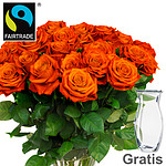 Orange FAIRTRADE roses in a bunch