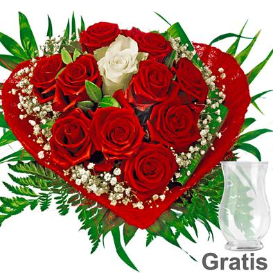 Rosenstrauß Romeo mit Vase