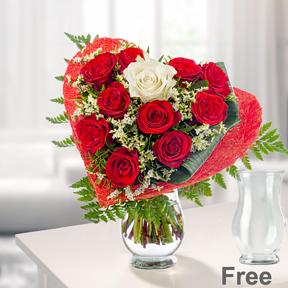 Rose Bouquet Romeo with vase