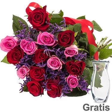 15 roses with limonium