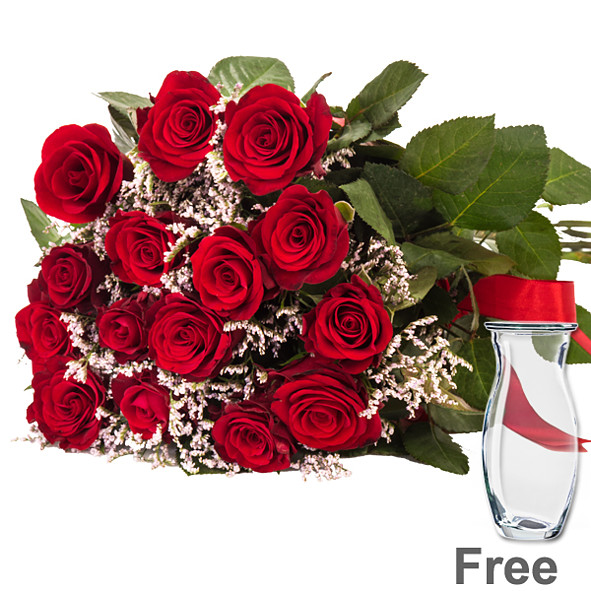 Bunch of 15 red roses with limonium with vase