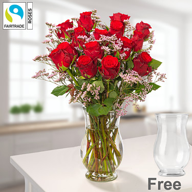 Bunch of 15 red Fairtrade roses with limonium with vase