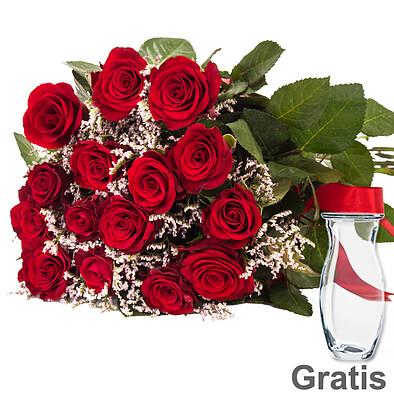 15 rote Rosen im Bund mit Limonium & Vase