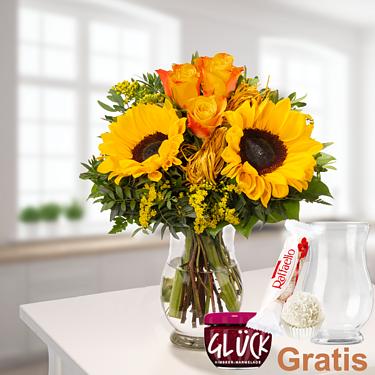 Blumenstrauß Vincent mit Vase & Ferrero Raffaello & GLÜCK-Marmelade