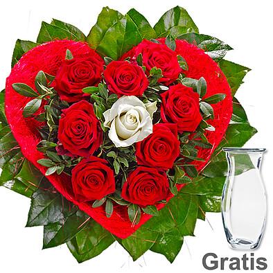 Rosenstrauß Amore mit Vase