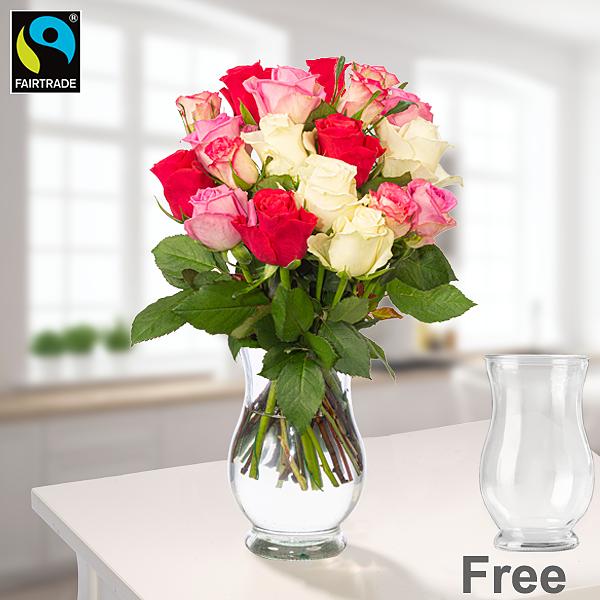 Bunch of roses Zuckerwatte with vase