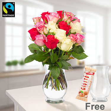 Bunch of roses Zuckerwatte with vase & Ferrero Giotto Hazelnut