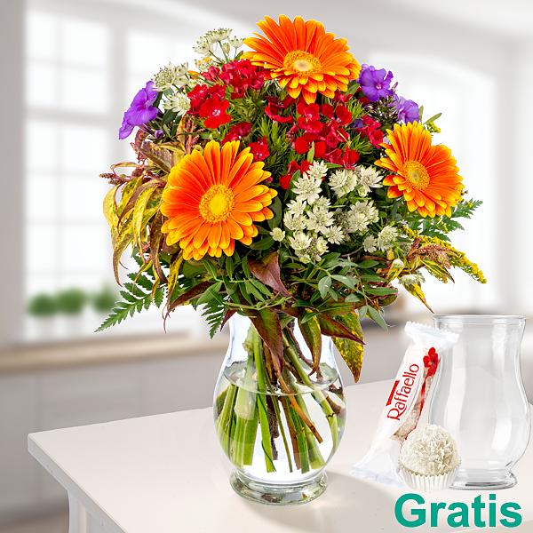 Blumenstrauß Sommerwiese mit Vase & Ferrero Raffaello
