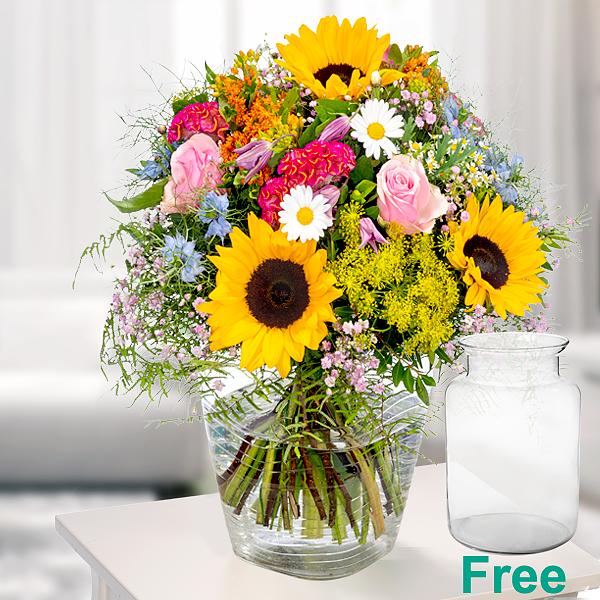 Premium Bouquet Sommerfestival with premium vase