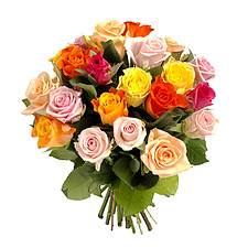 Bouquet of mixed coloured roses