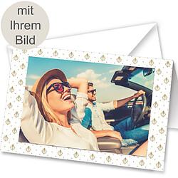 Ihr persönliches Bild in einer Aufstellkarte mit Grußkarte