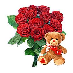 Blumenstrauß Valentin mit Teddy