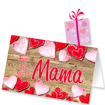 """Motivkarte """"Für die beste Mama"""" mit Aufstecker"""